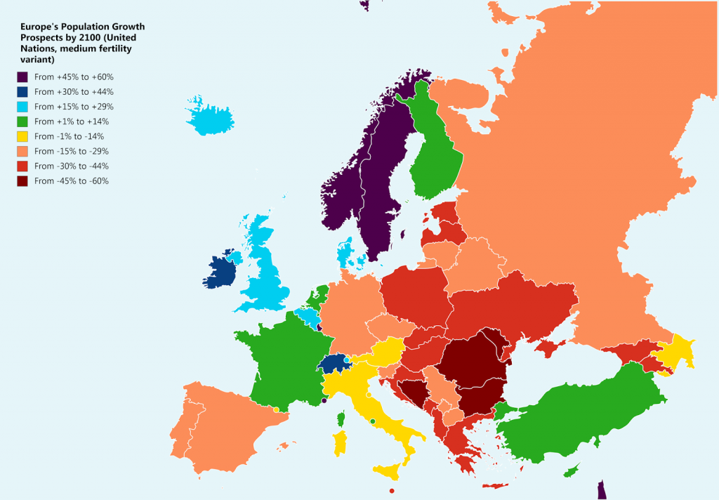 Predicted Population Growth & Decline in Europe by 2100