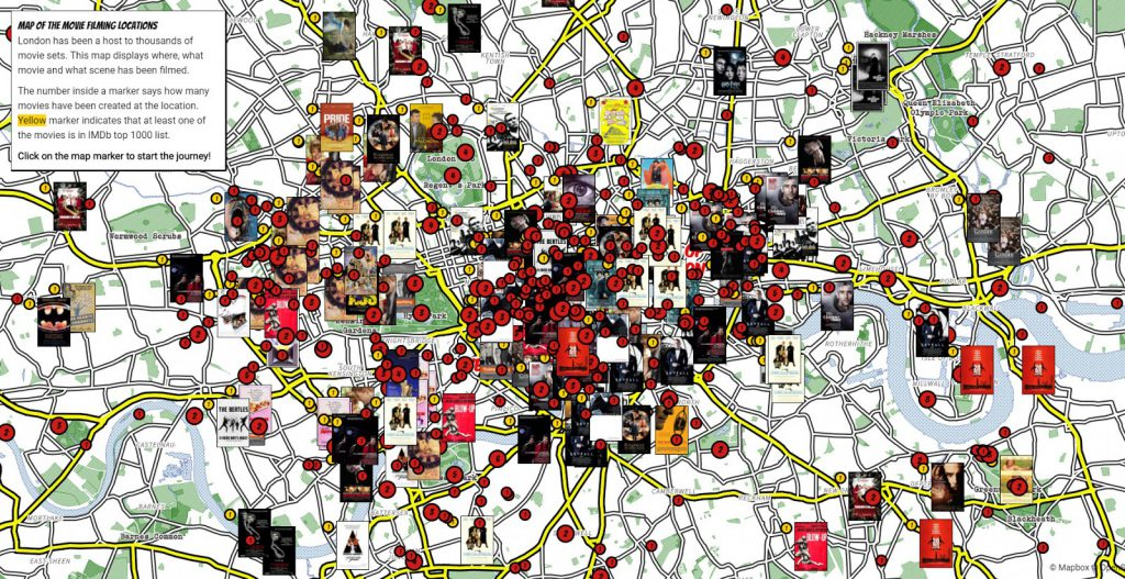 London map of the movie filming locations