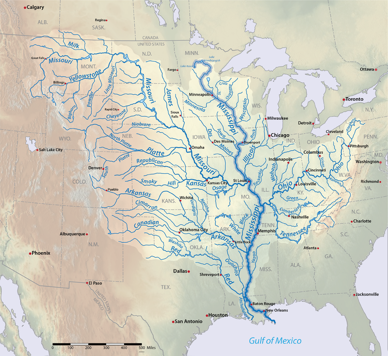The Mississippi River basin in the U.S. & Canada