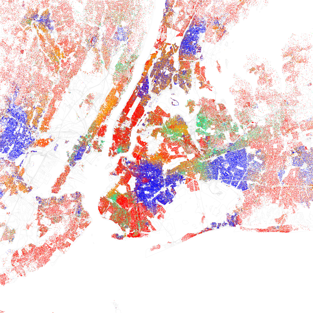 Race and ethnicity map of New York City and parts of New Jersey