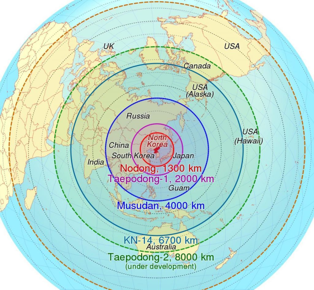 Map of North Korea's ICBM range.