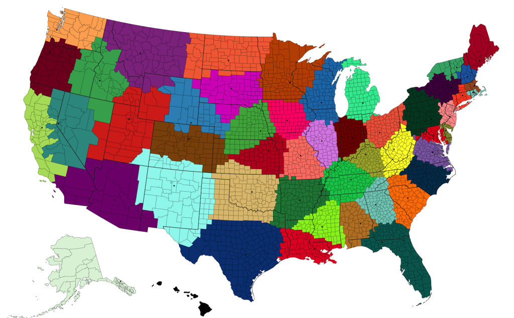 Closest state capital to each U.S. county or county equivalent