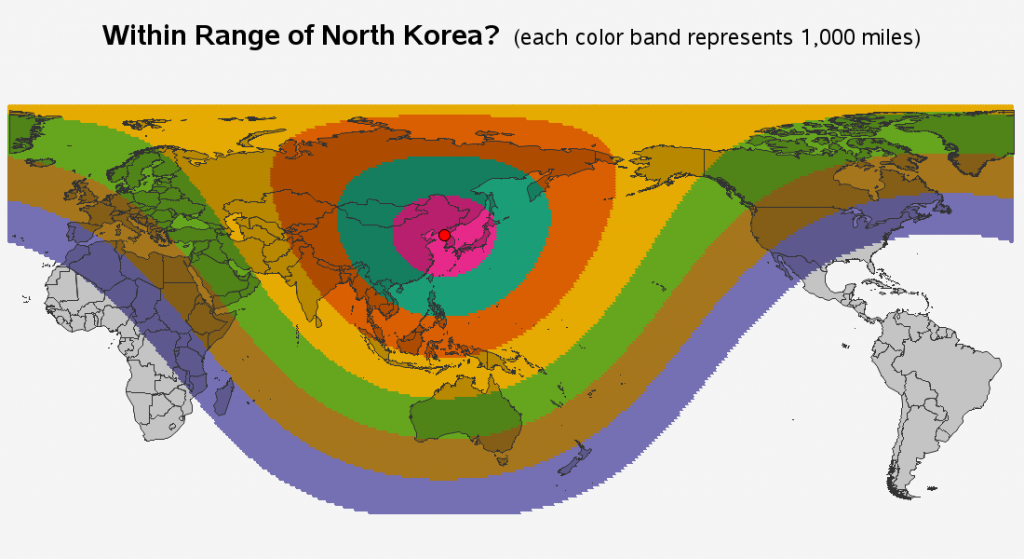 Within range of North Korea? (each color band represents 1,000 miles)