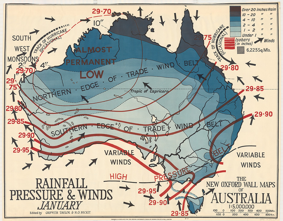 Rainfall pressure and winds for January (1929)