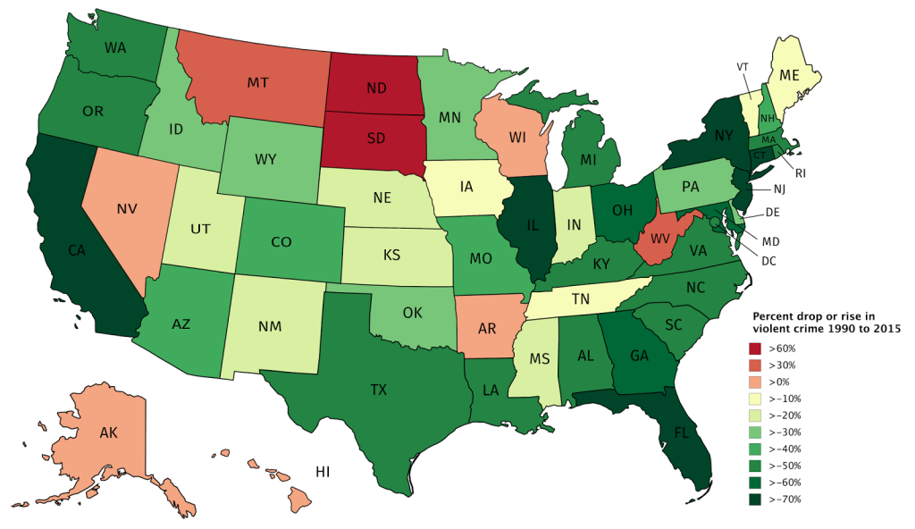 violent crime in the united states 1990 vs 2015