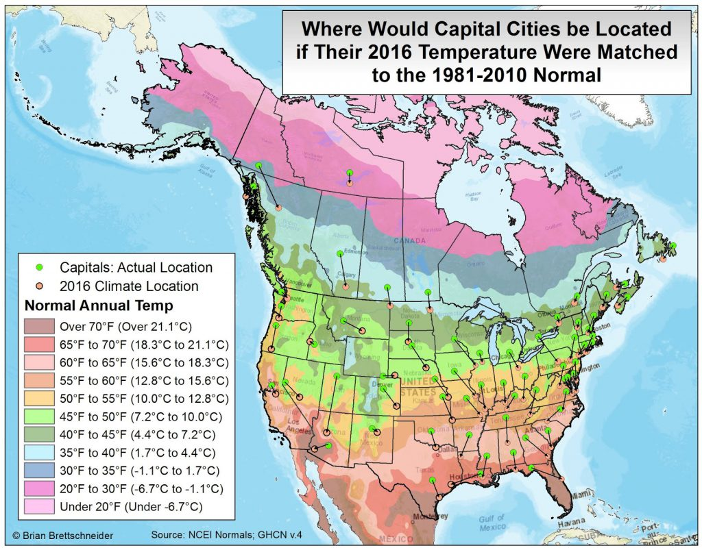 Where would capital cities be located if their 2016 temperature were matched to the 1981-2010 normal