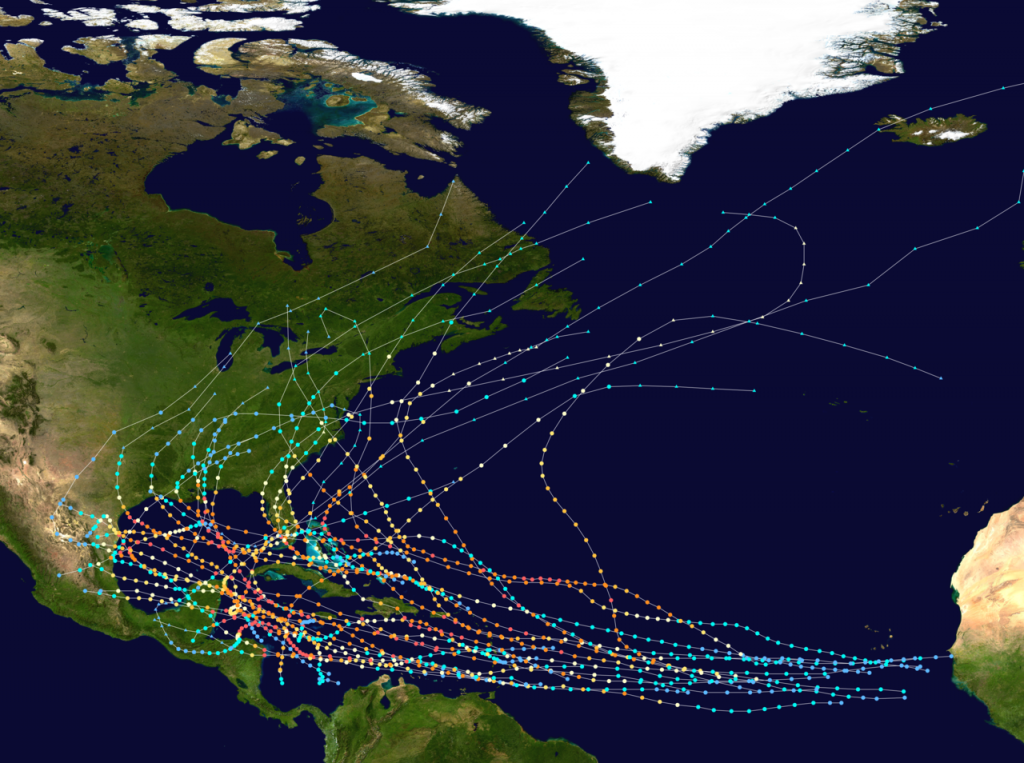 The path of every recorded Atlantic Hurricane since 1851