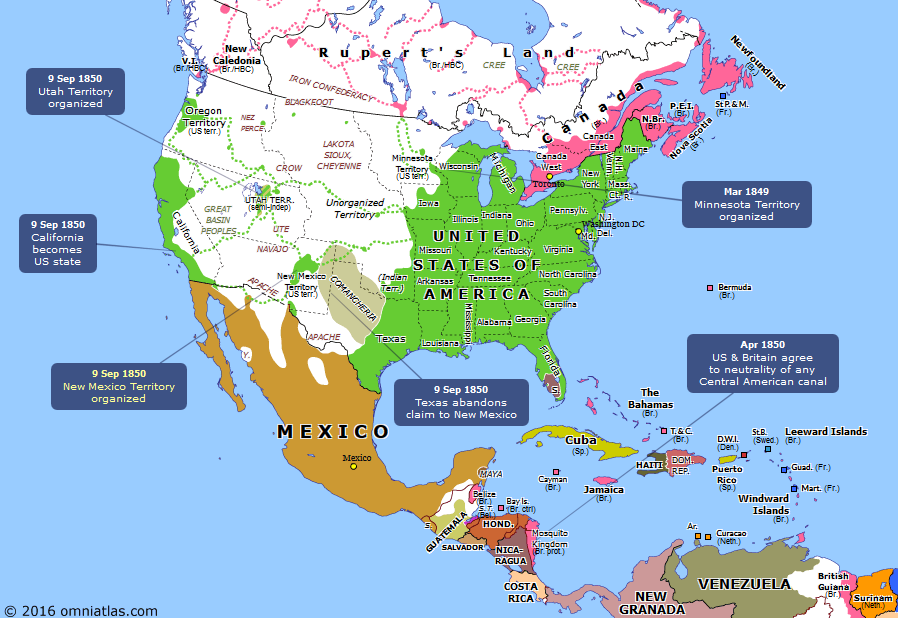 North America in 1850