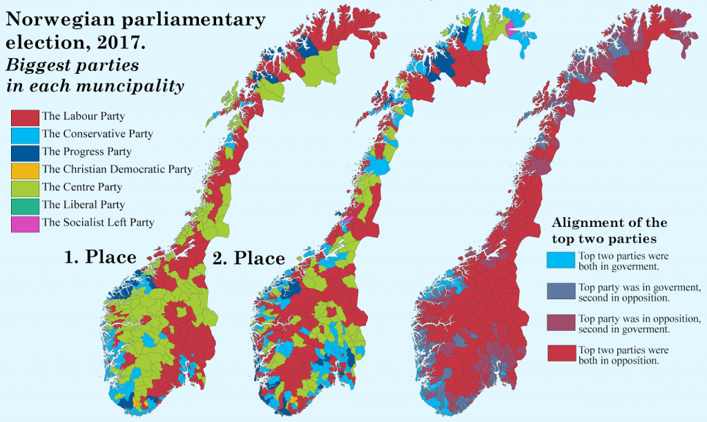 Norwegian parlamentary election (2017): Biggest parties in each muncipality