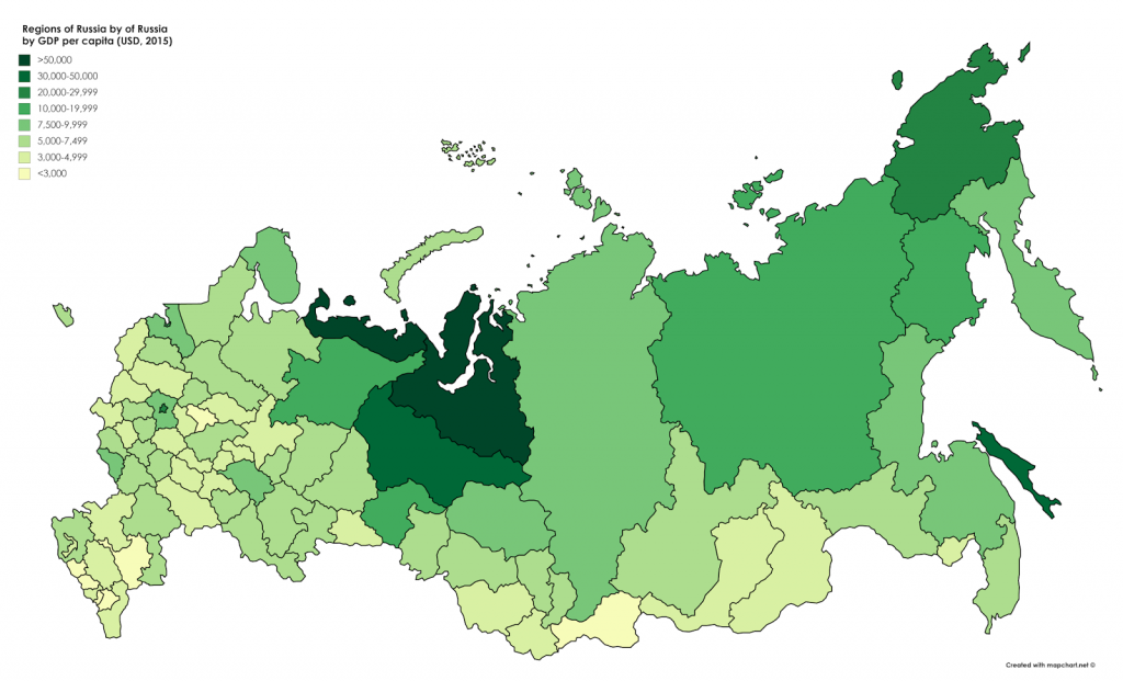 Map of regions of Russia by GDP per capita