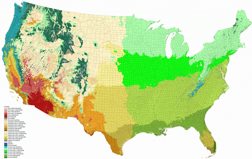 Detailed Climate Map Of The United States