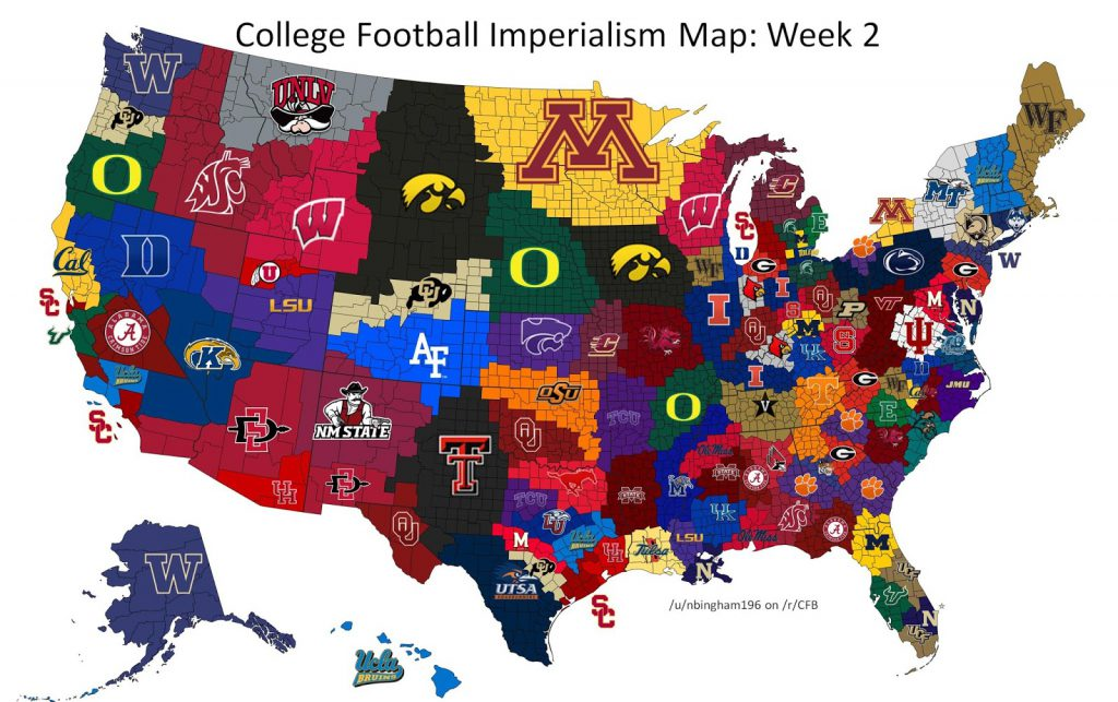 College Football Imperialism Maps Vivid Maps