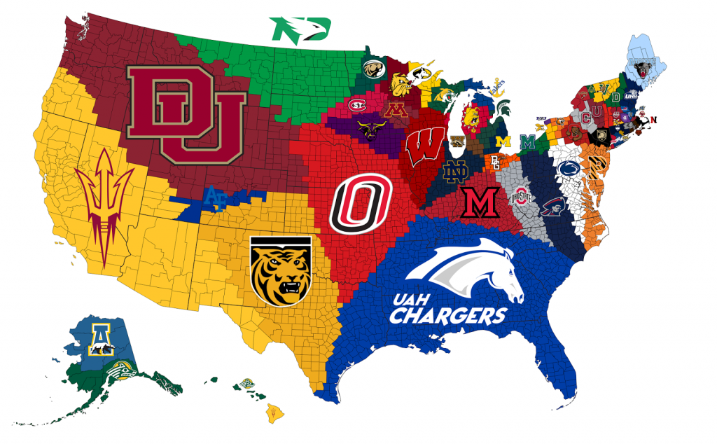 Closest NCAA D1 Hockey Program to Each U.S. County