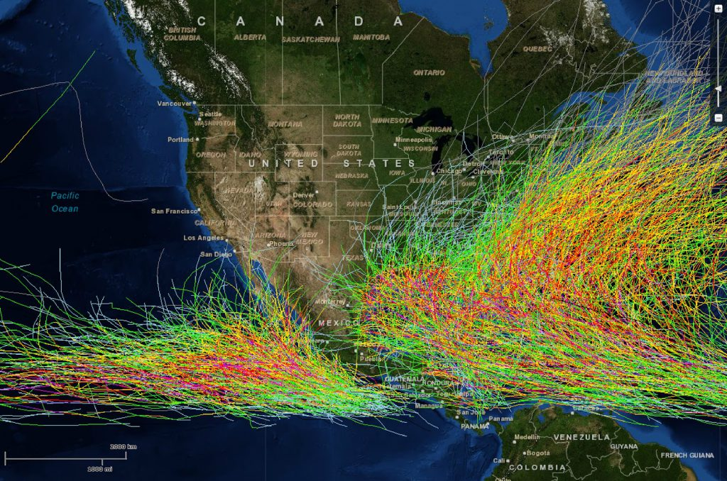 A map of all Western hemisphere hurricanes, color coded by intensity