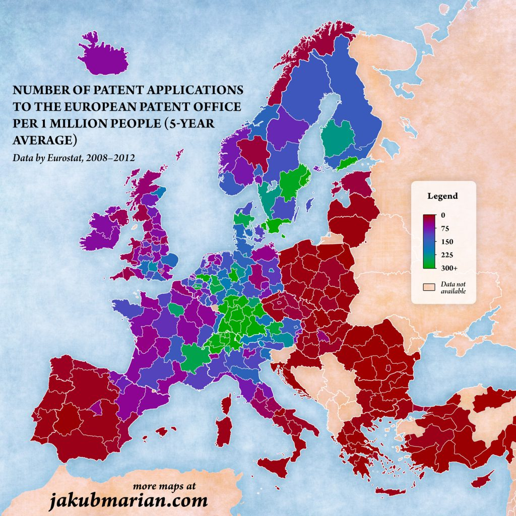 Number of patent applications to the European patent office per 1 million people