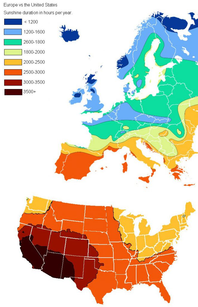 Sunlight duration in hours per year in Europe and the U.S.