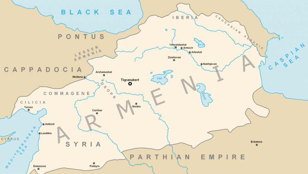 The Armenian Empire at its territorial peak under Tigranes the Great (80 BCE)