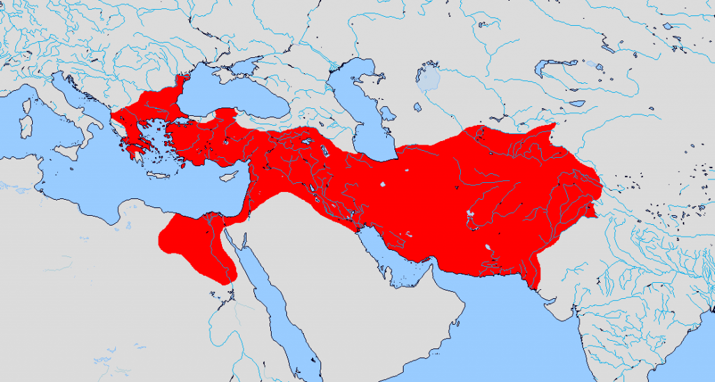 The Greek empire at its territorial peak (323BCE)