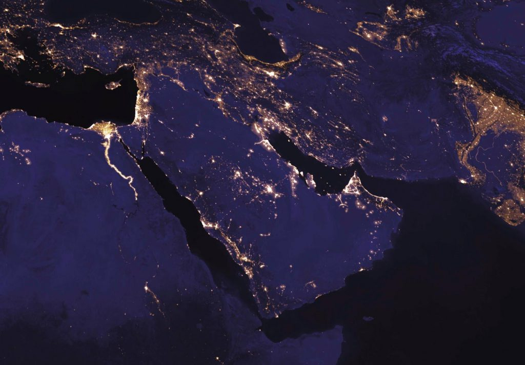 Lights pollution in the Middle East