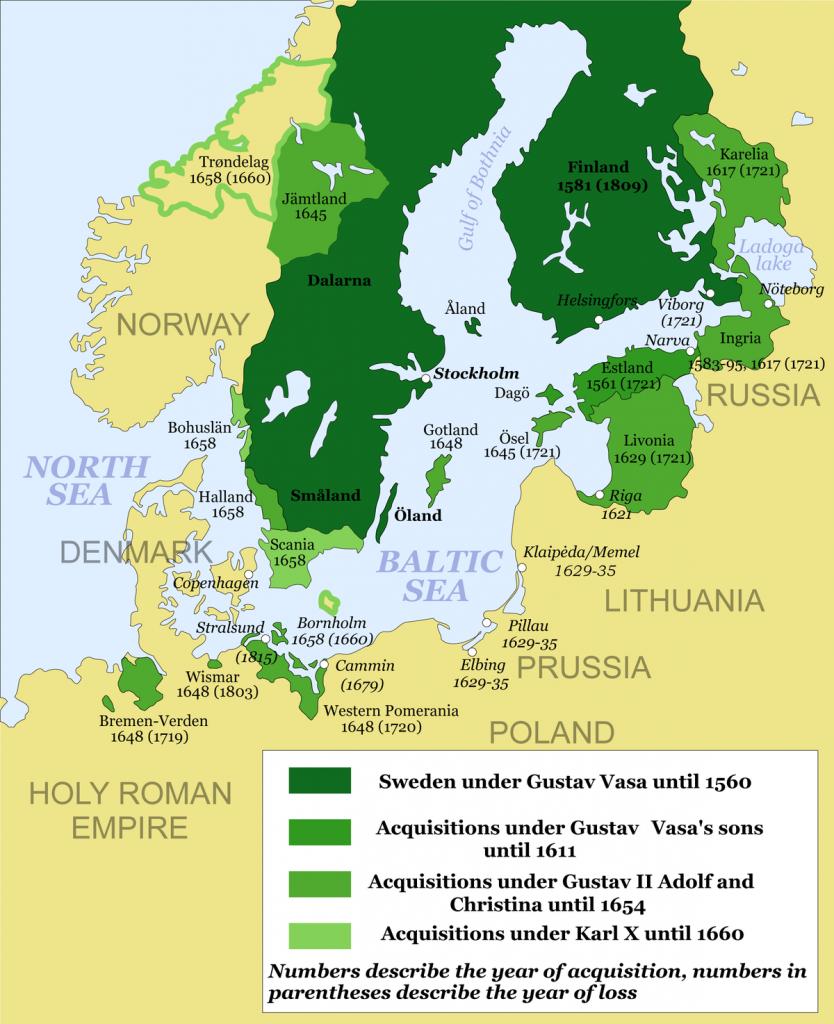 The Swedish empire at it's peak