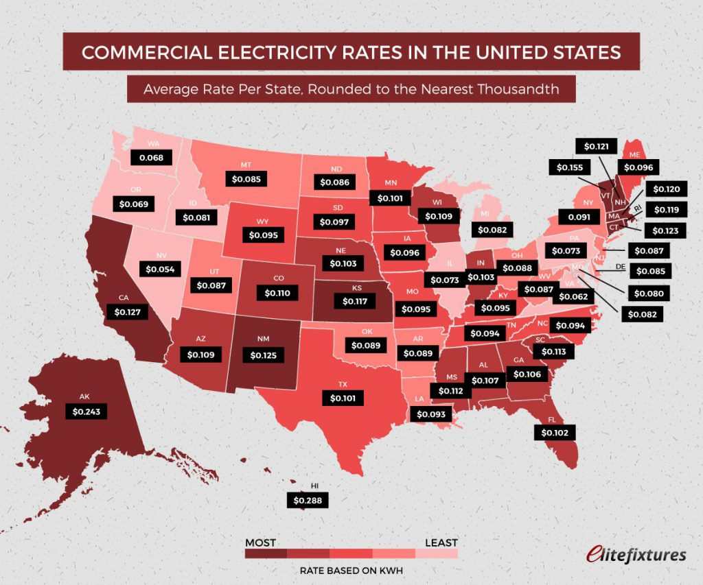 Map Shows The Average Cost Of Electricity Per U S State