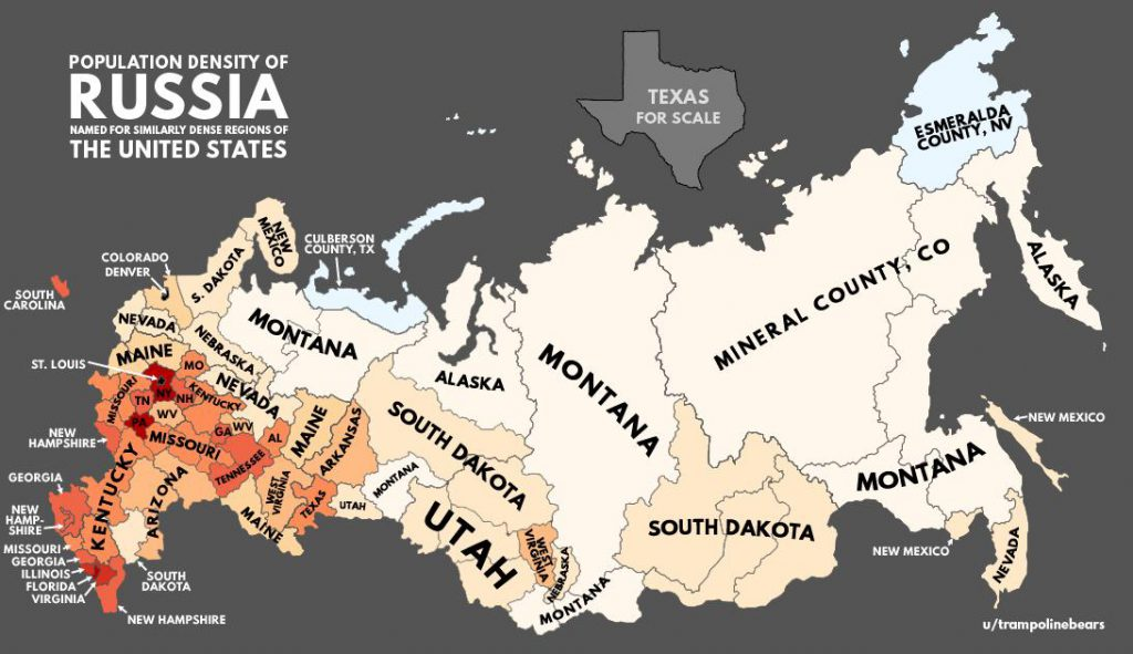 Population density of Russia with US equivalents Vivid Maps