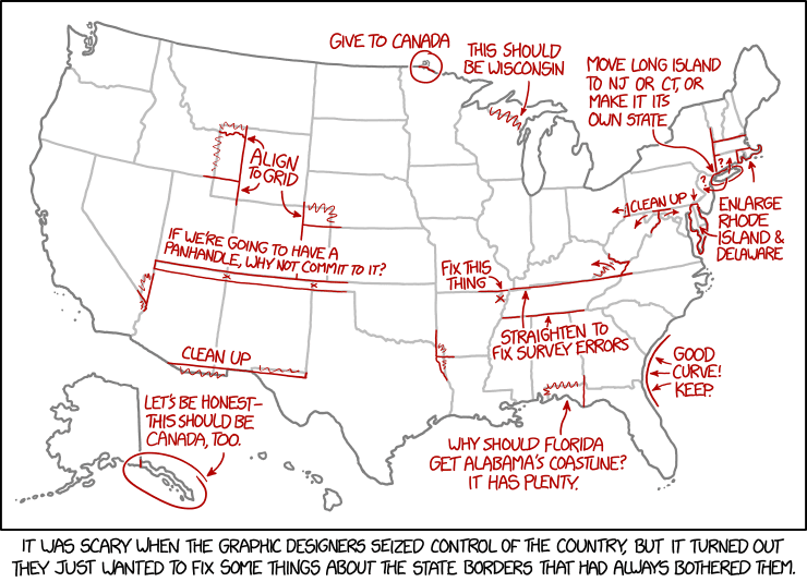 XKCD on the design of US state borders