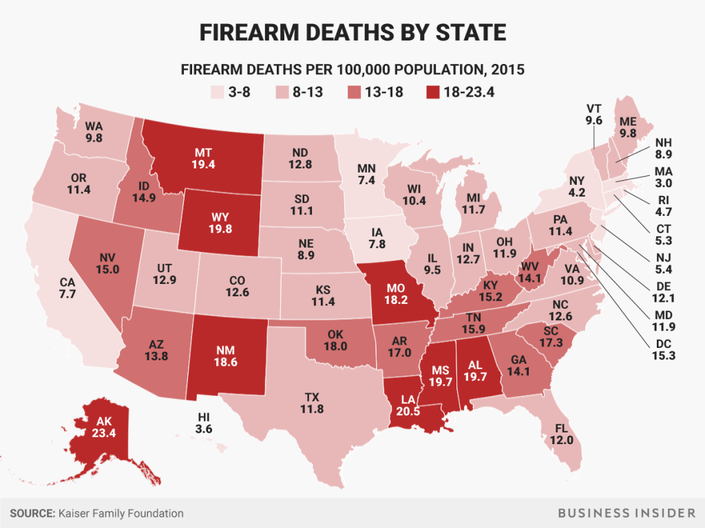 Firearm deaths per 100,000 population