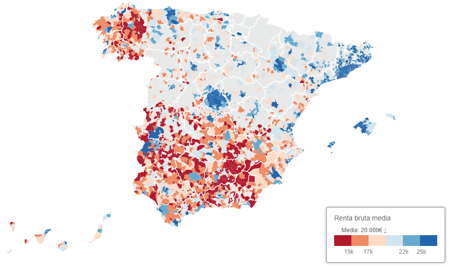 The urban-rural wealth gap in Spain