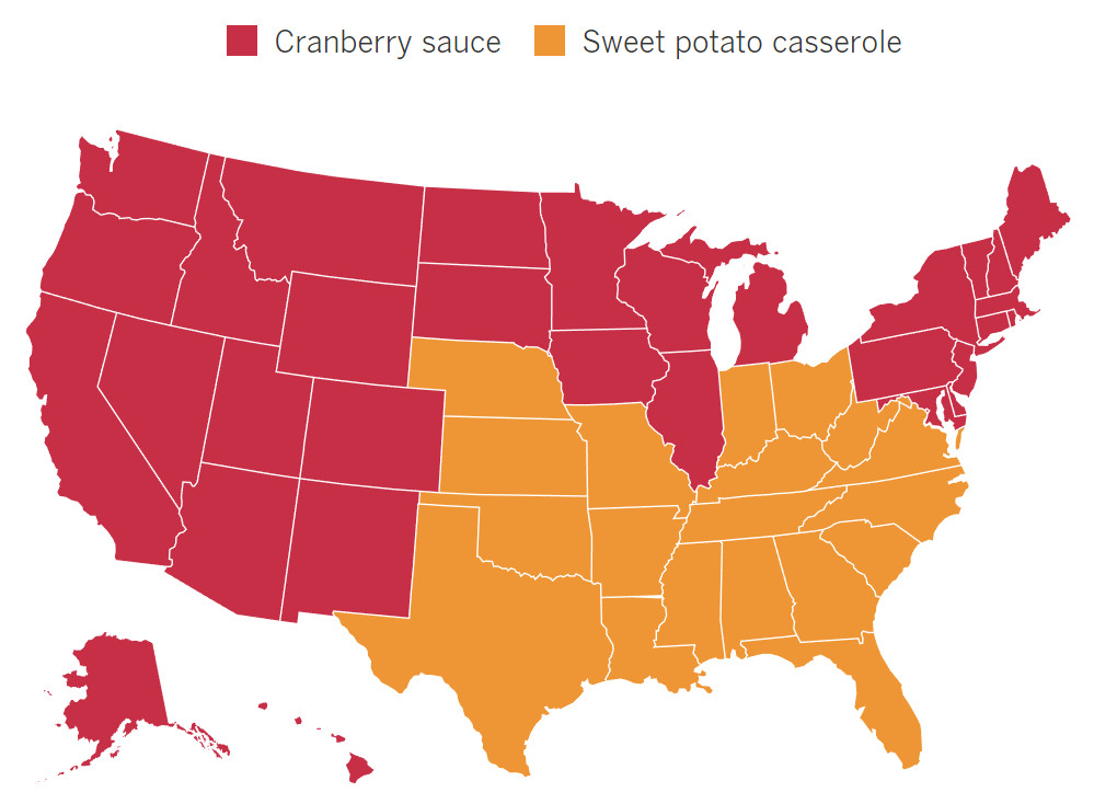 Cranberry sauce is popular in the North and West