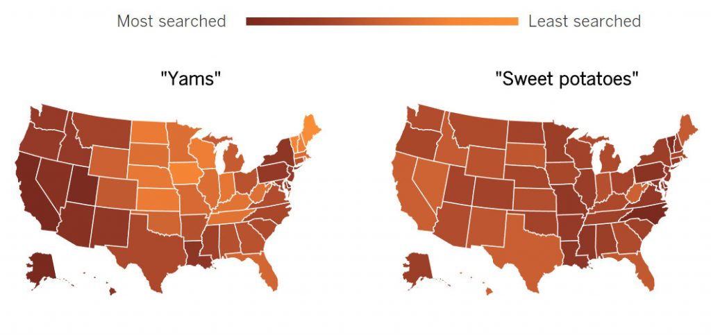 Californians are among the Americans most commonly searching for yams