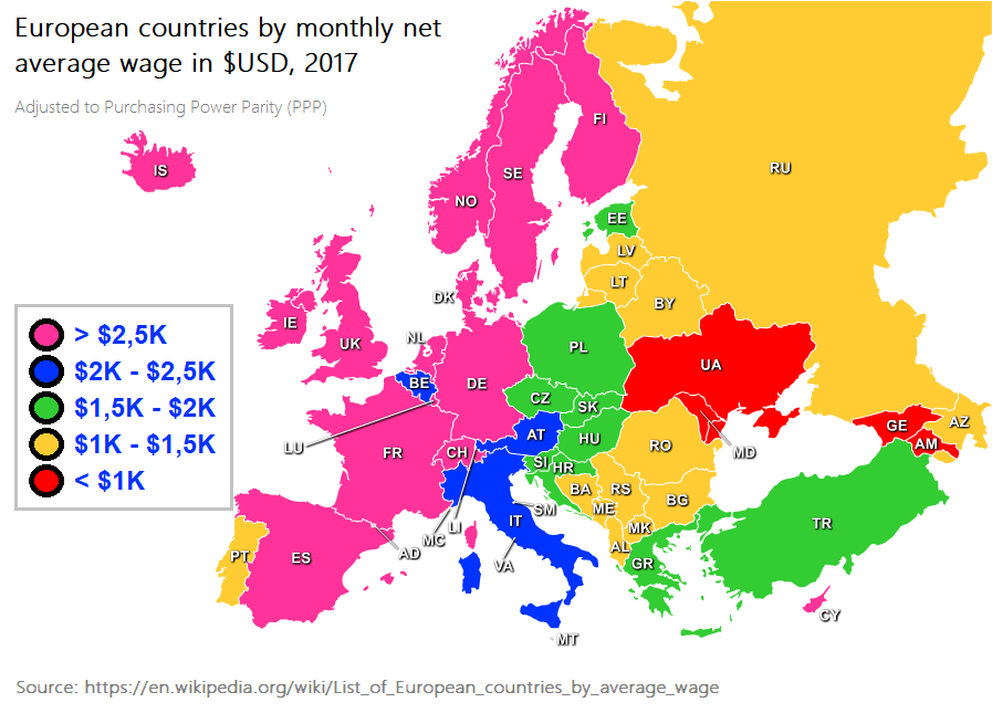 European countries by average wage