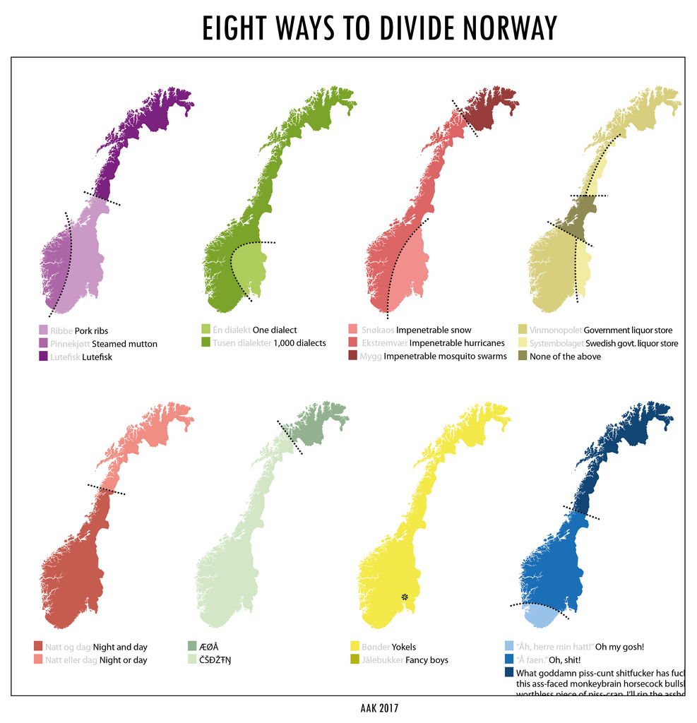 8 ways to divide Norway.