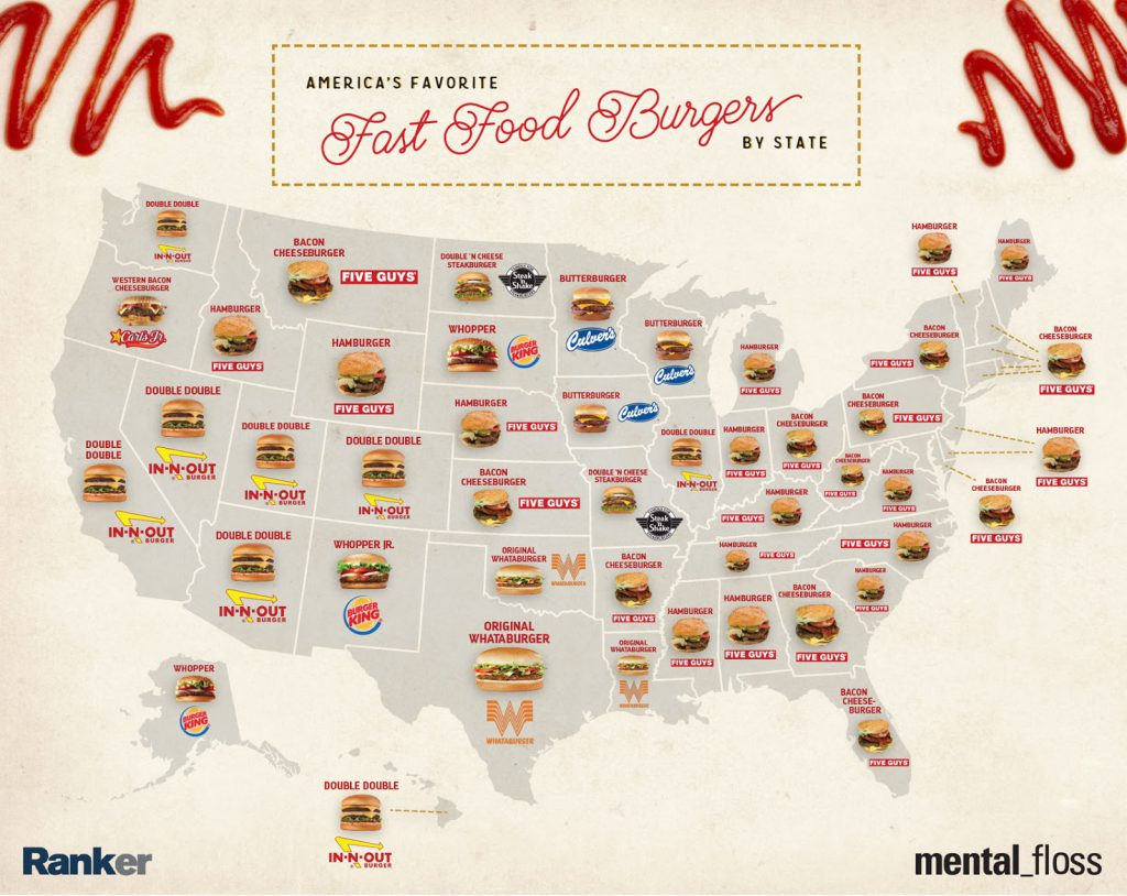 Favorite Fast Food Burgers of Each State