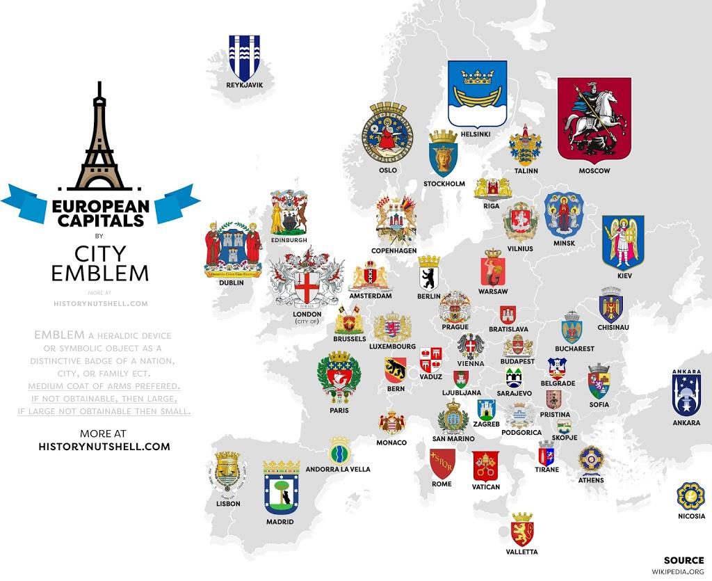 European Capitals by City Emblem