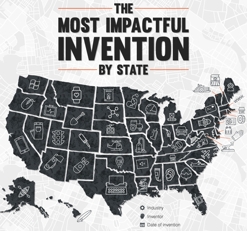The most impactful invention by US state