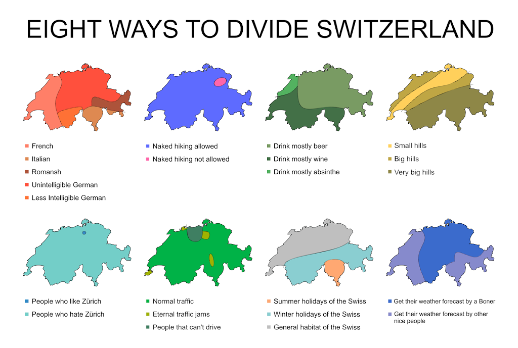 Eight ways to divide Switzerland