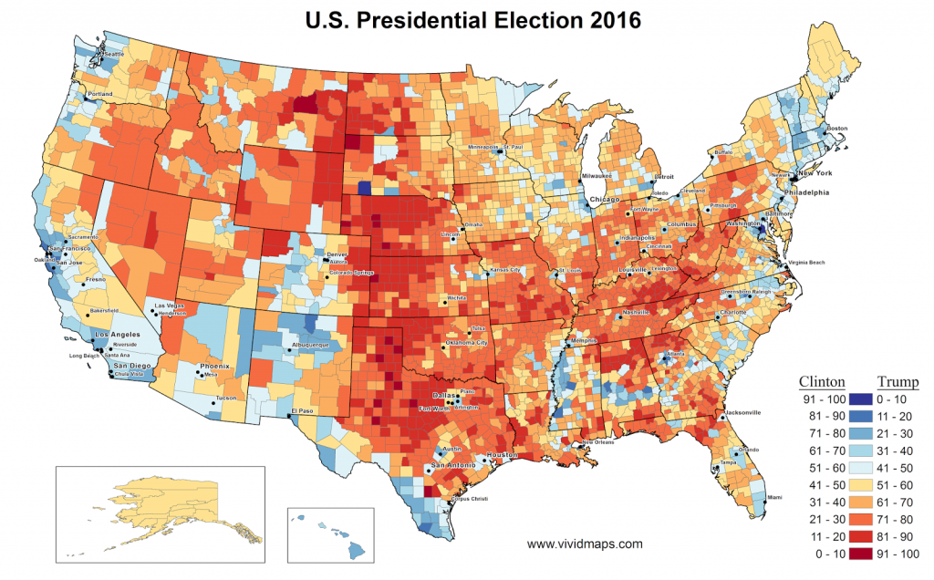 Presidential election results by U.S. county.