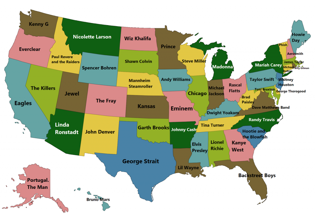Best music artists in each state
