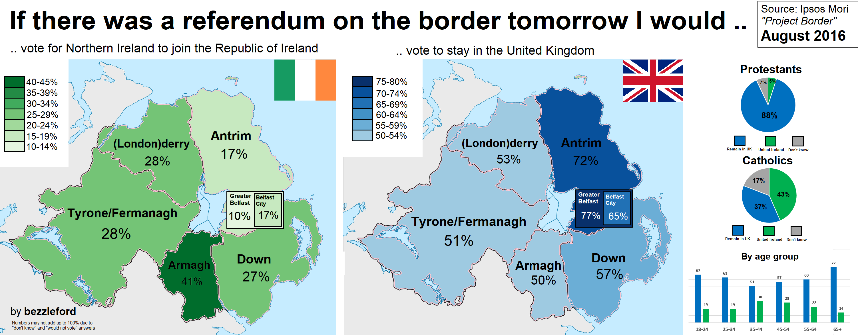 Republic Of Ireland And Northern Ireland Map.If There Was A Referendum On The Northern Ireland Border Vivid Maps