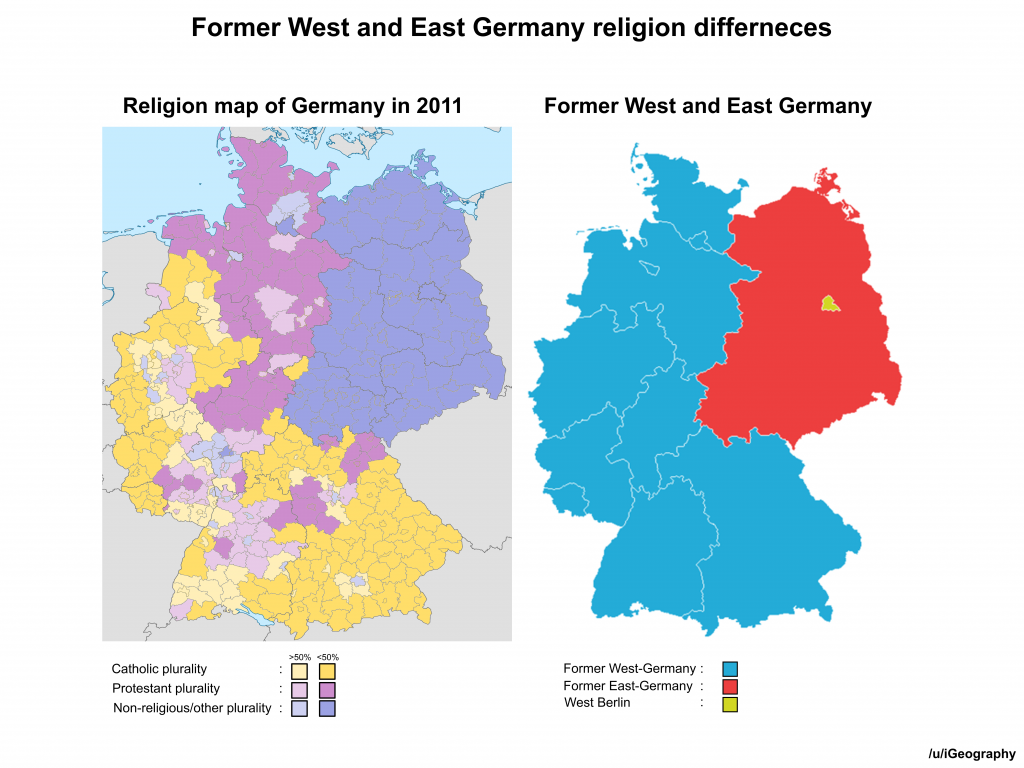 Former West and East Germany religion differences - Vivid Maps