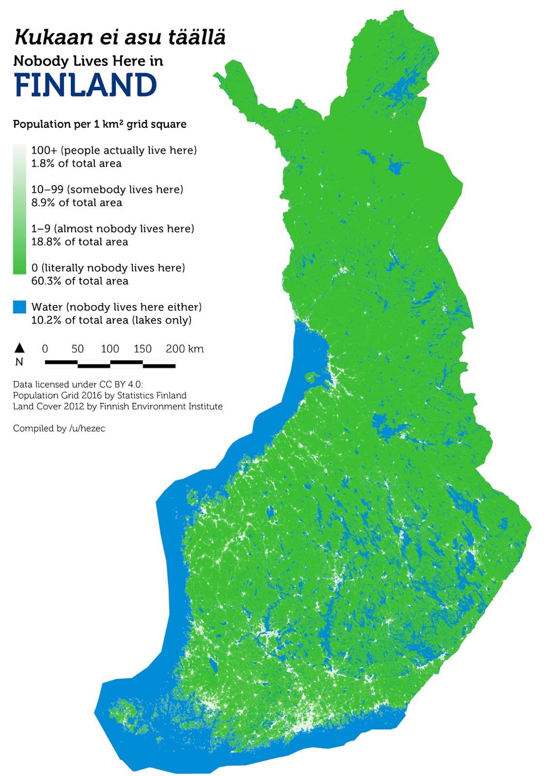Finland: Population per 1km2 grid square