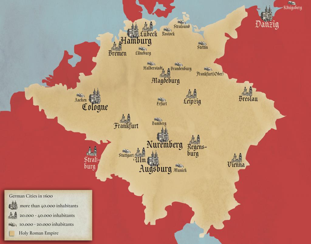 Largest German Cities 1600 Vivid Maps