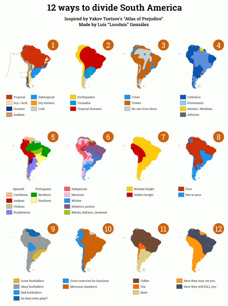 South America: 12 ways to divide