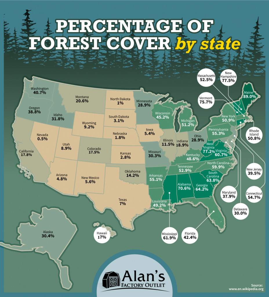 Percentage Of Forest Cover By U S State Vivid Maps