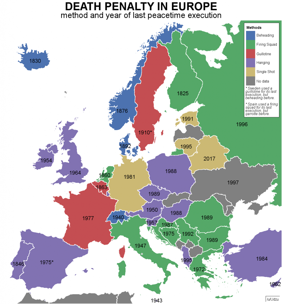 Death Penalty In Europe Method And Year Of Last Peacetime