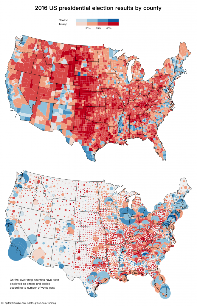 U.S. presidential election results in two maps (2016 ...