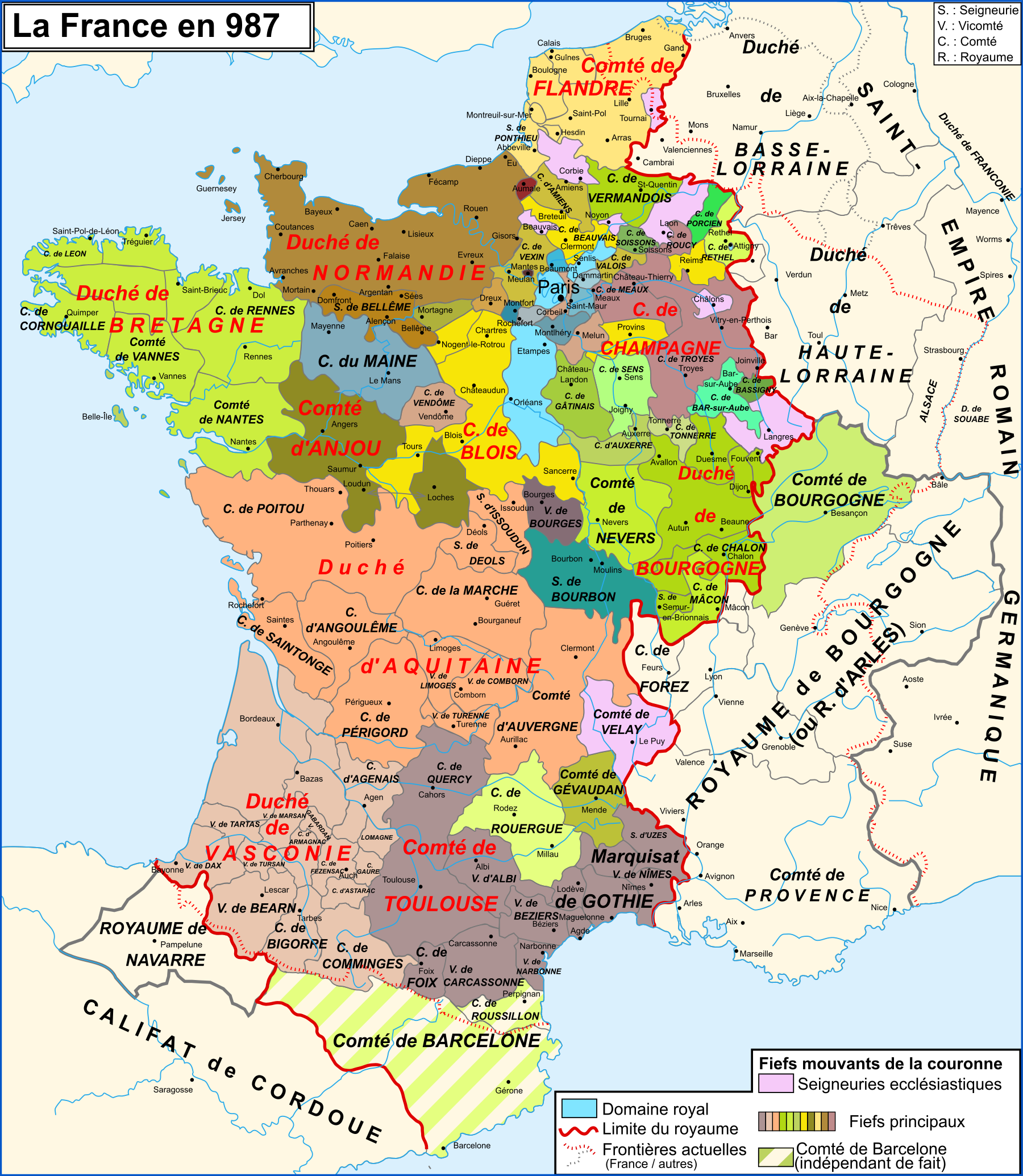 Map of France in year 987 - Vivid Maps