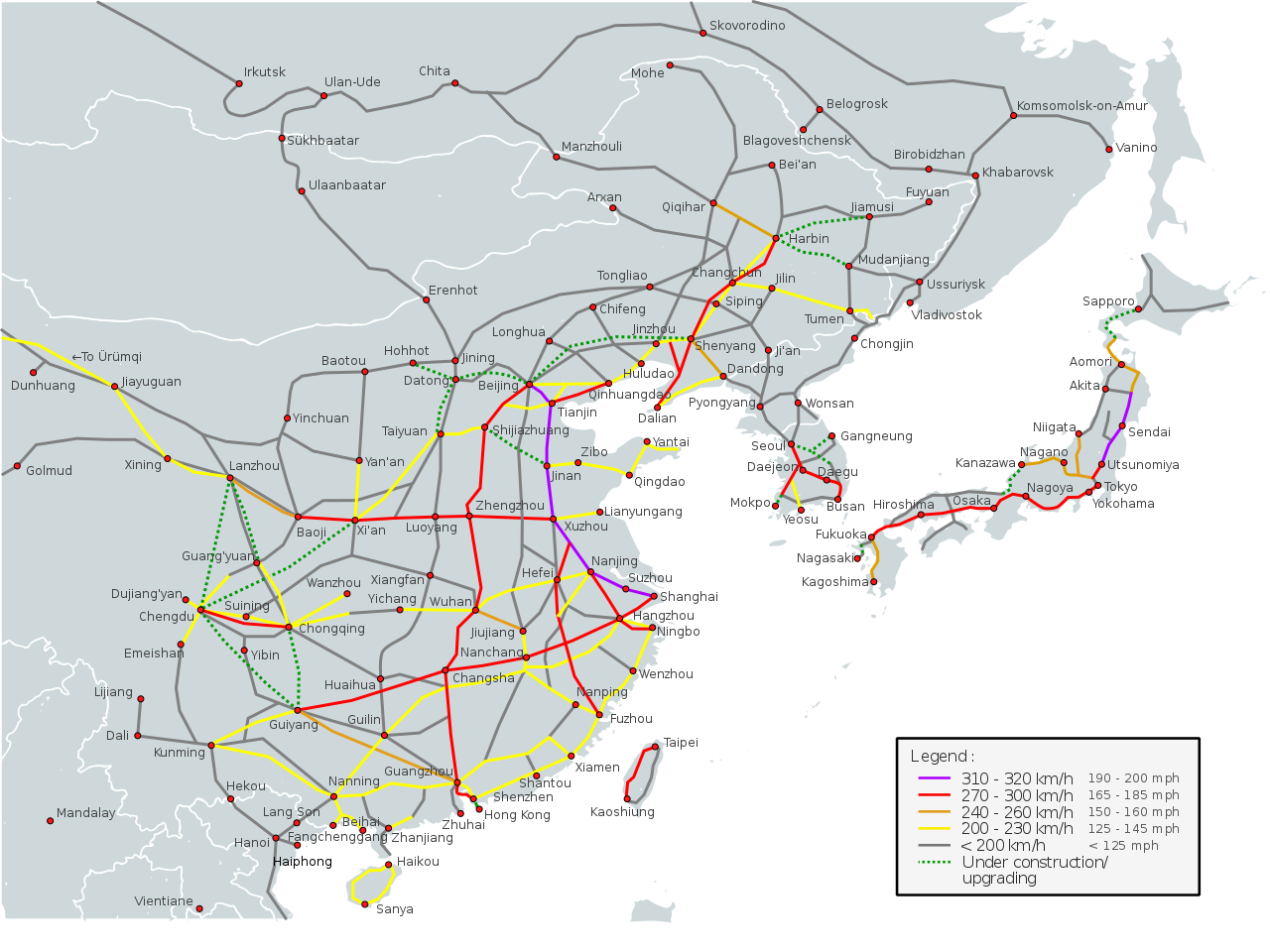 Map Of Asia Today.High Speed Rail In Eastern Asia 2017 Vivid Maps