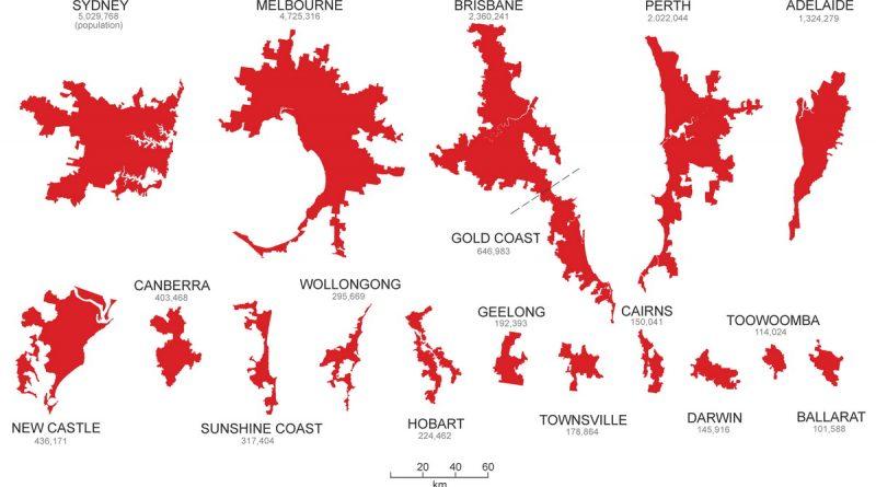 Australian metropolitan urban area Footprints